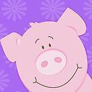 Cute Happy Pig - Purple by JessDesigns