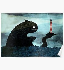 Sea monster & Lighthouse Poster