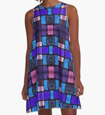 Waterlily Stained Glass - Purple A-Line Dress