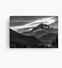 Mt Hood with lenticular cloud monochrome 2 Canvas Print