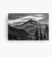 Mt Hood with lenticular cloud monochrome Canvas Print
