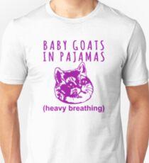 Heavy Breathing Cat Meme Loves Baby Goats in Pajamas Unisex T-Shirt