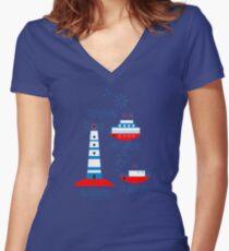 Sea, ships, lighthouses Women's Fitted V-Neck T-Shirt