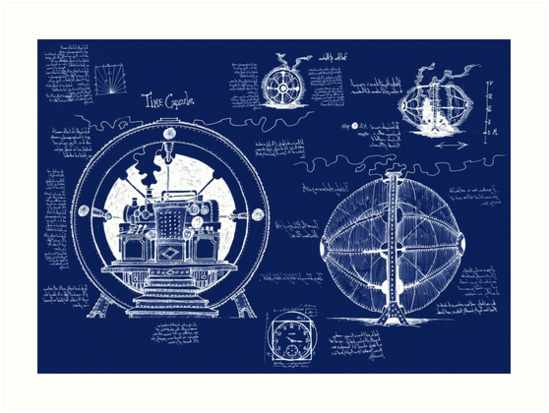 Time machine blueprints art prints by gwynplainestuff redbubble time machine blueprints malvernweather Gallery