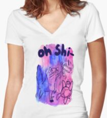 Oh Shi- Cat and Turtle Watercolor Women's Fitted V-Neck T-Shirt