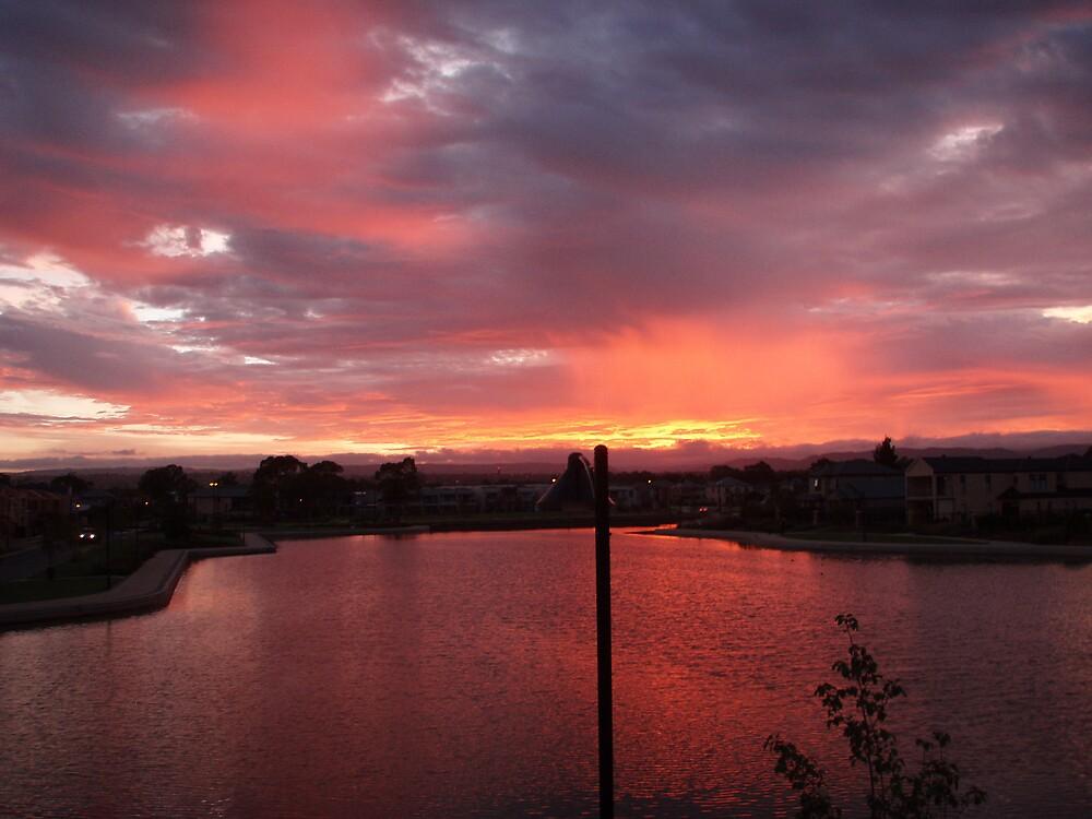 Sunrise overlooking Shearwater Lake, Mawson Lakes by Juliashmoolia
