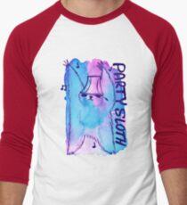 Party Sloth Watercolor Men's Baseball ¾ T-Shirt
