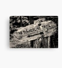 Timberline Trail Sign monchrome Canvas Print