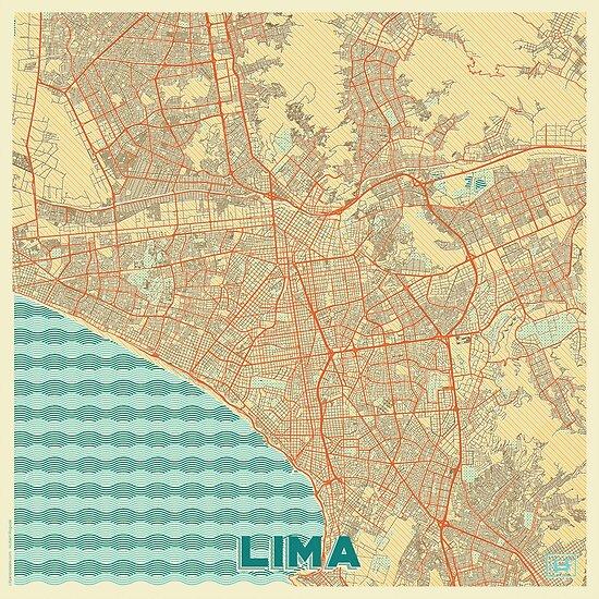 Lima Map Retro by HubertRoguski