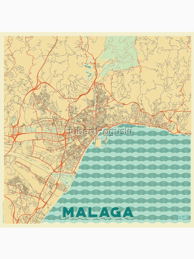 Malaga Map Retro by HubertRoguski
