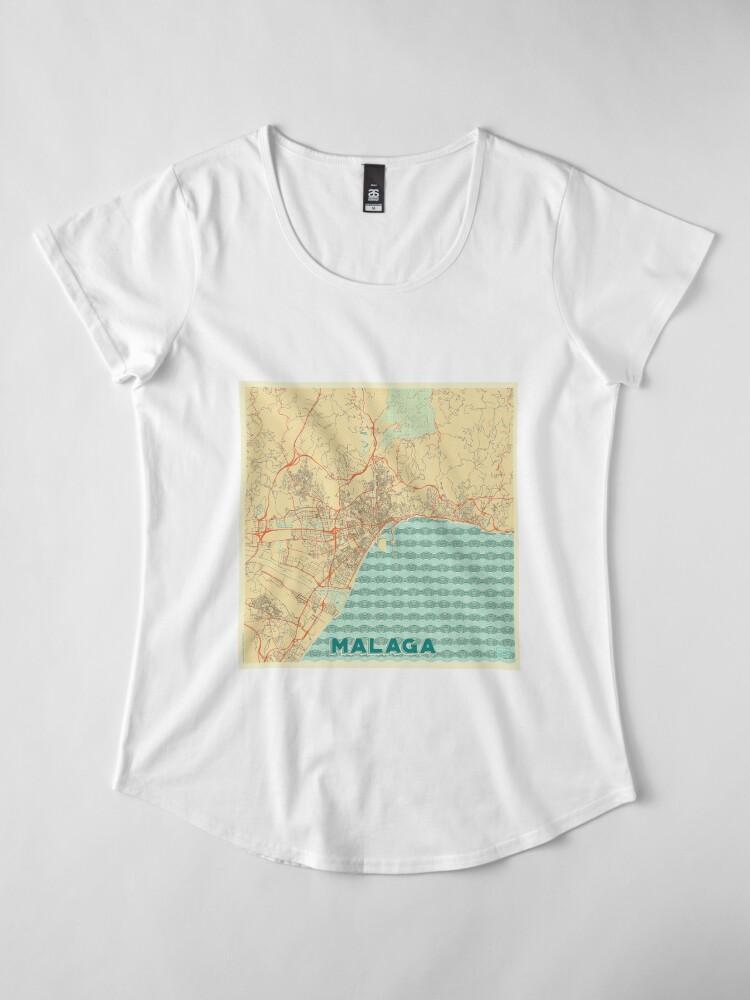 Alternate view of Malaga Map Retro Premium Scoop T-Shirt