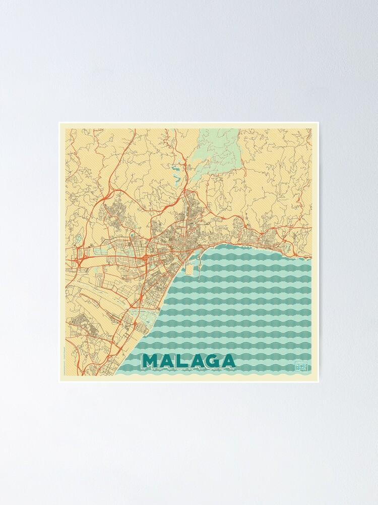 Alternate view of Malaga Map Retro Poster