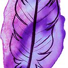 Purple Watercolor Feather by SaradaBoru
