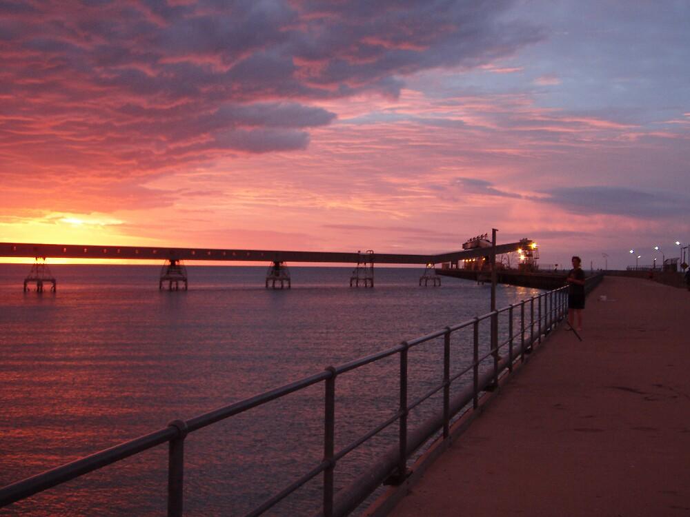 Sunset overlooking Wallaroo Jetty by Juliashmoolia