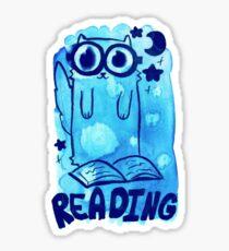 Reading Watercolor Cat Sticker