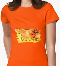 Grumpy Watercolor Cat with Cheese Womens Fitted T-Shirt