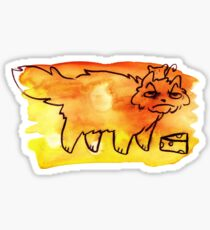 Grumpy Watercolor Cat with Cheese Sticker