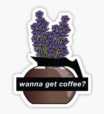 """Wanna Get Coffee?"" Purple Wildflowers Sticker Sticker"