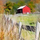 Red Barn and wooden fence by Chet Scerra