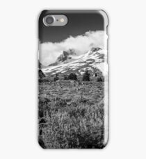 Mt Hood and lupines from Pacific Crest Trail monochrome iPhone Case/Skin