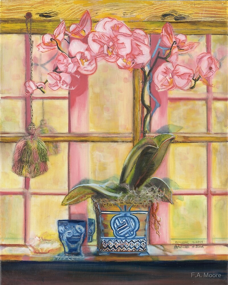 Elizabeth's Pink Orchid in a Sunny Window by F.A. Moore