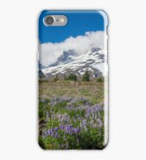 Mt Hood and lupines from Pacific Crest Trail painterly iPhone Case/Skin