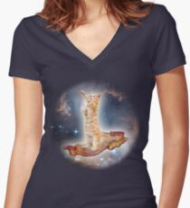 Cats in Space Women's Fitted V-Neck T-Shirt