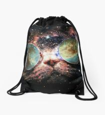 Cat with glasses in space  Drawstring Bag