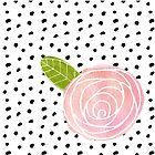 Illustrated Rose with Boho Dot Pattern by kimBLiSS