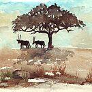 Safari Lodge décor - Gemsbok in the shadows by Maree Clarkson