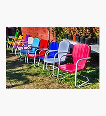 Vintage metal chairs in a row Photographic Print