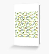 watercolor greenery and red cactus seamless pattern Greeting Card