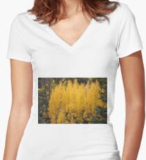 Colorado Aspens in Fall Women's Fitted V-Neck T-Shirt