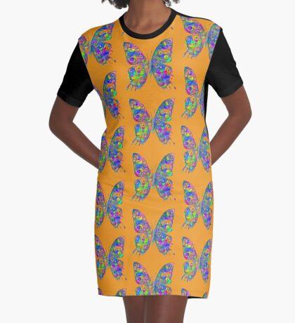 #DeepDream Motley Butterfly Graphic T-Shirt Dress