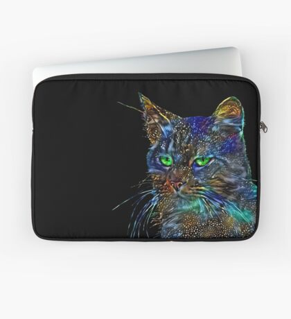 Artificial neural style Starry night wild cat Laptop Sleeve