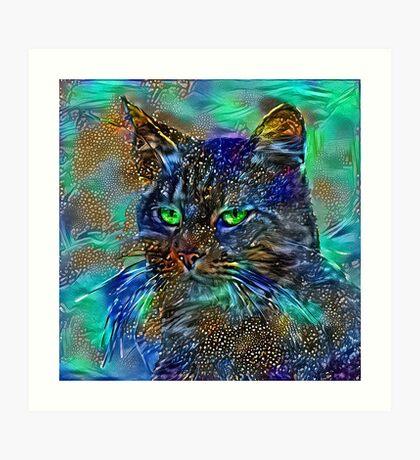 Artificial neural style Starry night wild cat Art Print