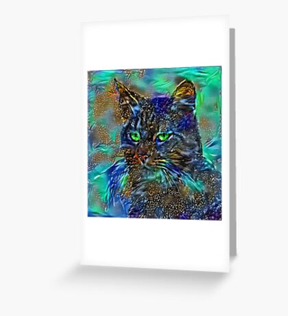 Artificial neural style Starry night wild cat Greeting Card
