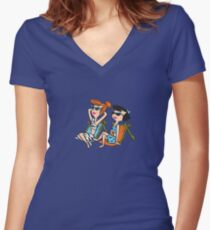 The Flintstones Wilma and Betty in the Sun Women's Fitted V-Neck T-Shirt