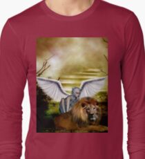 Beautiful fairy with lion Long Sleeve T-Shirt