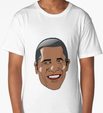 Obama Cartoon Face Long T-Shirt