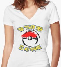 Pokémon: To Train Them Is My Cause Women's Fitted V-Neck T-Shirt