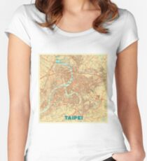 Taipei Map Retro Women's Fitted Scoop T-Shirt