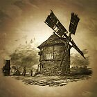 Ancient Windmill in the Austro-Hungarian Empire 1885 by Dennis Melling