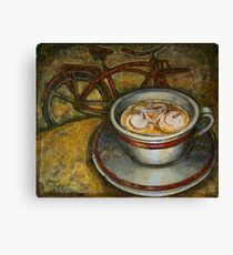 Still life with red cruiser bike Canvas Print