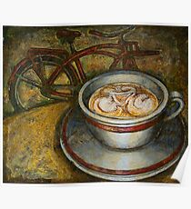Still life with red cruiser bike Poster