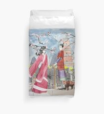 Ancient China Sketch Duvet Cover