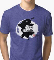 Whimsical Dame BW - Crazy Faces One - Habu-San Tri-blend T-Shirt