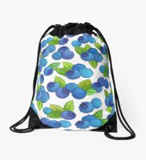 Pattern with blueberry on a white background. Drawstring Bag