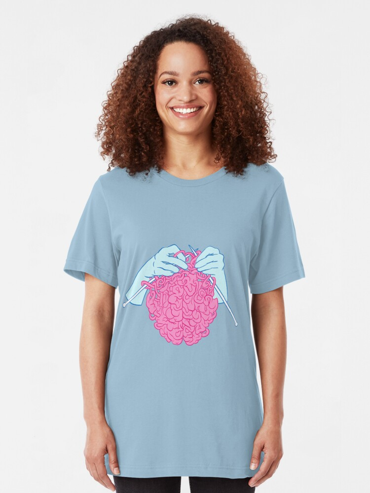 Alternate view of Knitting a brain Slim Fit T-Shirt