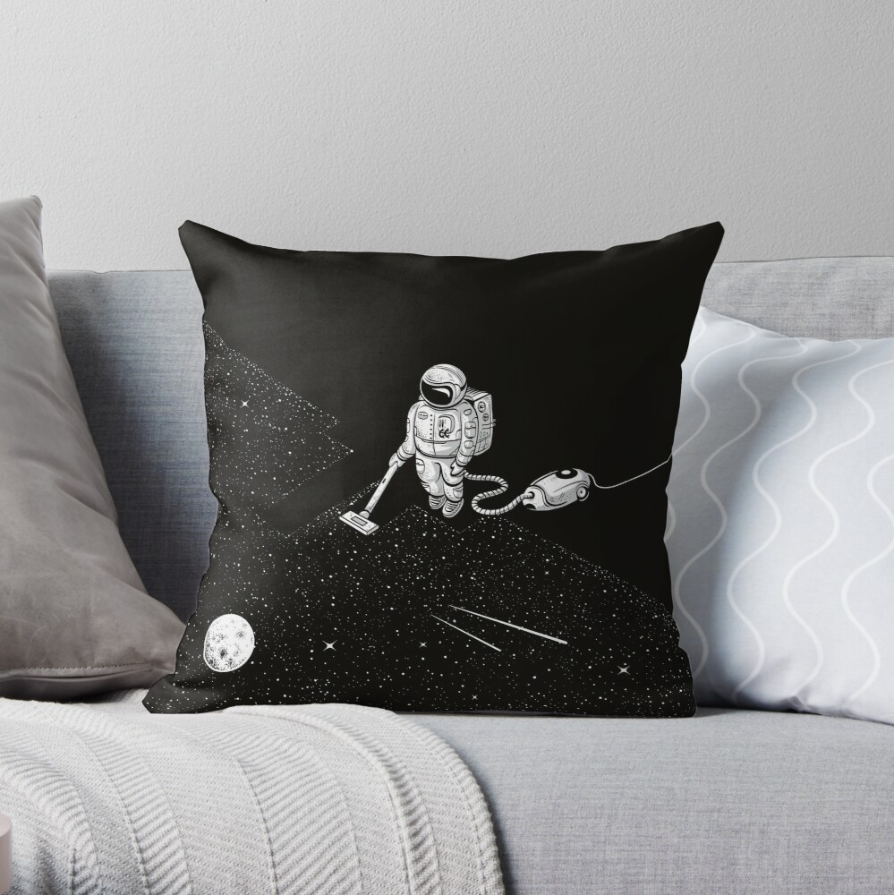 Space Cleaner Throw Pillow
